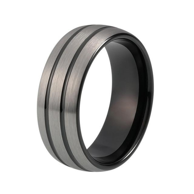 Tungsten Wedding Bands - Brushed Gunmetal Tungsten Wedding Band With Black Grooved Finish