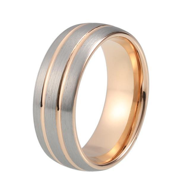 Tungsten Wedding Ring - Gunmetal & Rose Gold - Domed - 8mm
