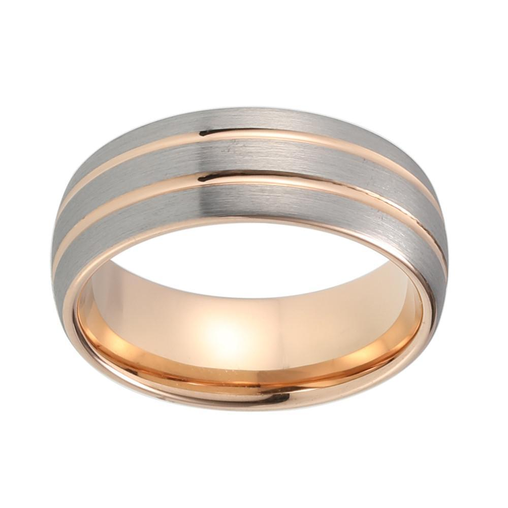 Tungsten Wedding Bands - Brushed Tungsten Wedding Band With Double Rose Gold Stripes