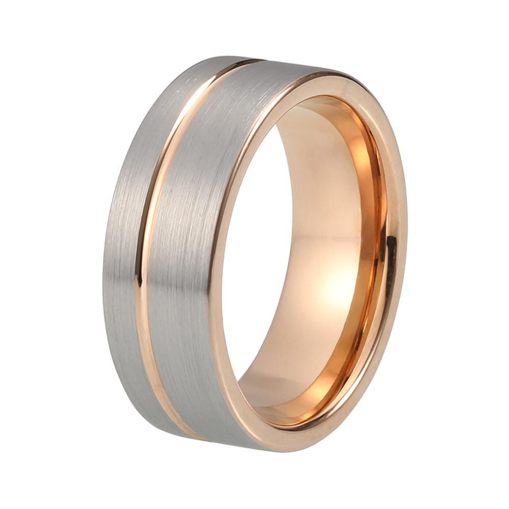 Tungsten Wedding Bands - Brushed Tungsten Wedding Band With Rose Gold Offset Stripe Finish