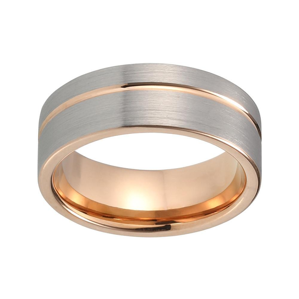 Tungsten Wedding Ring - Gumetal & Rose Gold - Offset Stripe - Landscape