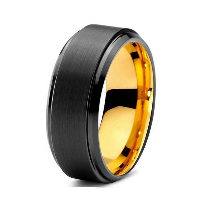 Tungsten Wedding Bands - Brushed With Beveled Edge Gold & Black Tungsten Wedding Band