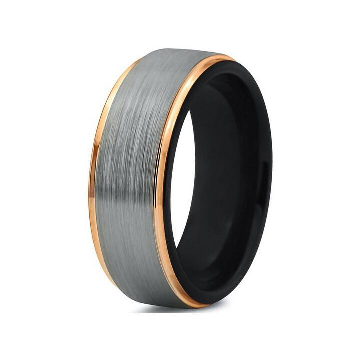 Tungsten Wedding Bands - Brushed With Black Interior Gunmetal & Gold Tungsten Wedding Band