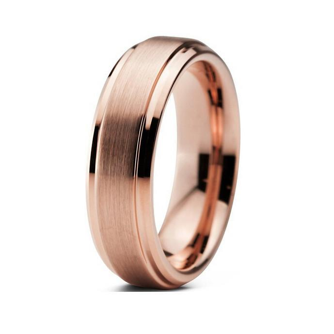 Tungsten Wedding Bands - Brushed With Polished Beveled Edges Rose Gold Tungsten Wedding Band