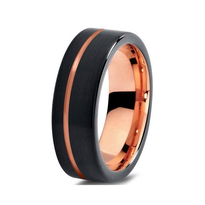 Tungsten Wedding Bands - Brushed With Slim Center Stripe Black & Rose Gold Tungsten Wedding Band