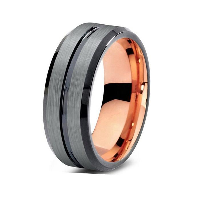Tungsten Wedding Bands - Center Grooved Gunmetal & Rose Gold Tungsten Wedding Band