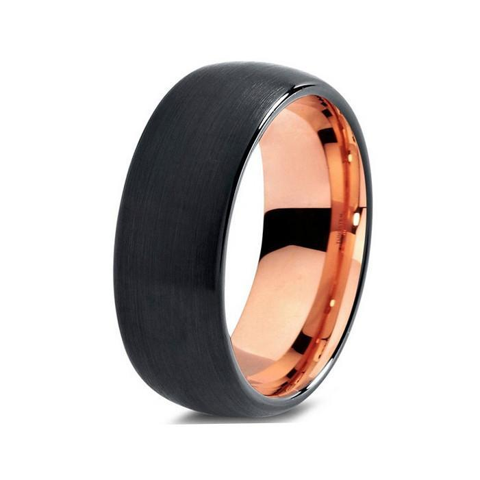 Tungsten Wedding Bands - Domed Brushed Black & Rose Gold Tungsten Wedding Band