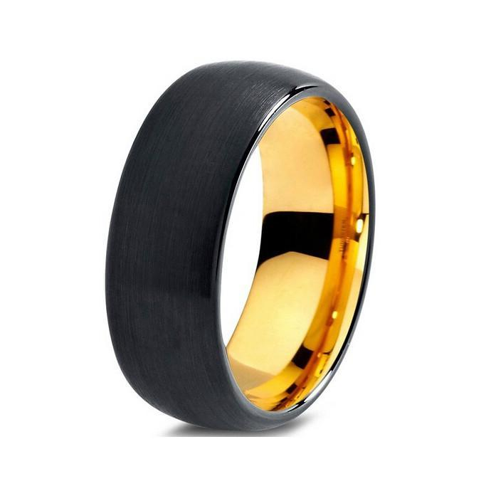 Tungsten Wedding Bands - Domed Brushed Gold & Black Tungsten Wedding Band