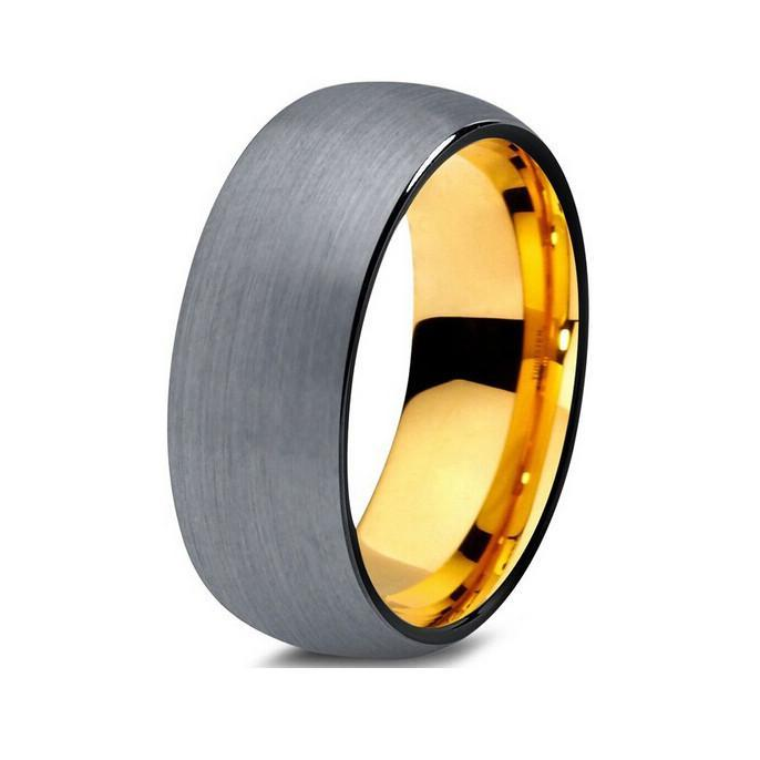 Tungsten Wedding Bands - Domed Brushed With Black Edges Gunmetal & Gold Tungsten Wedding Band