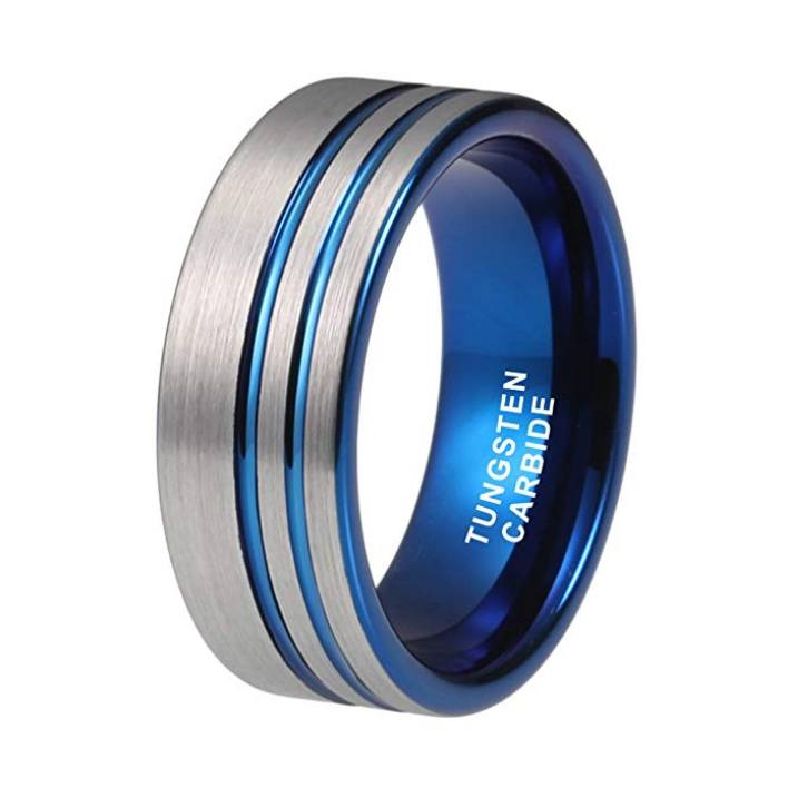 Tungsten Wedding Bands - Double Stripe Blue Tungsten Wedding Band