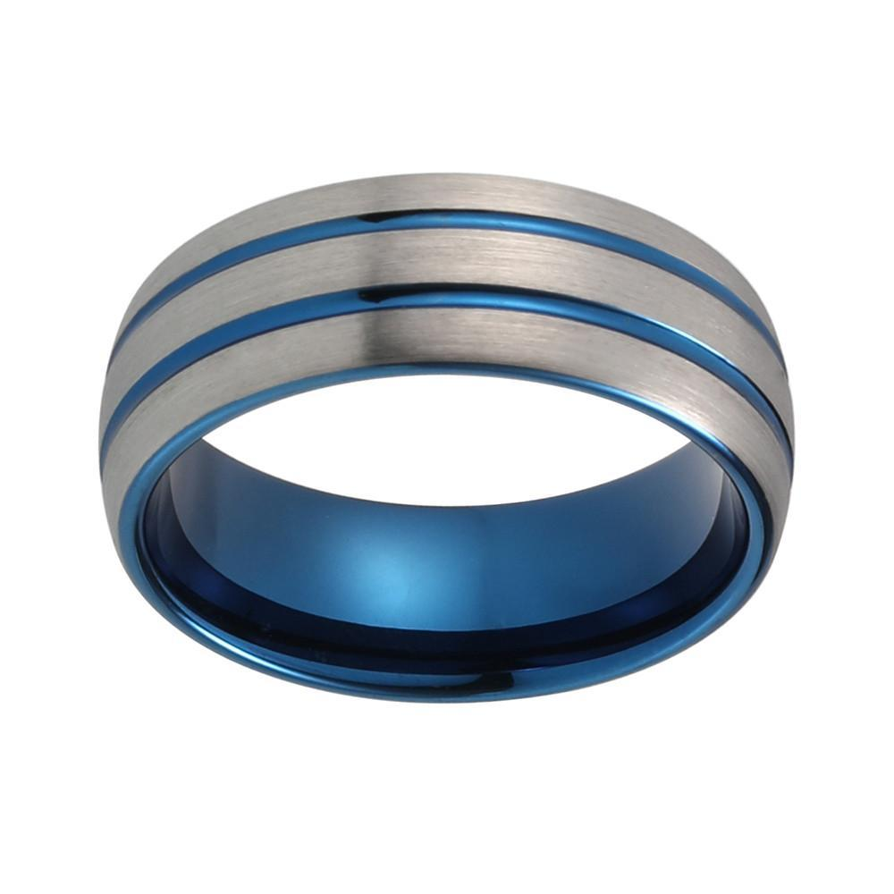 Tungsten Wedding Bands - Dual Blue Stripe Tungsten Wedding Band With Gunmetal Brushed Finish