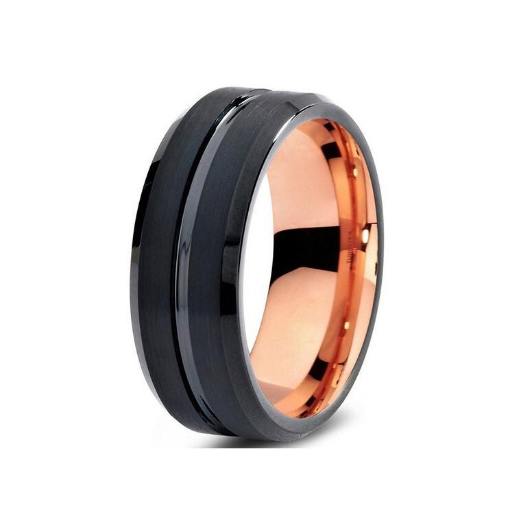 Tungsten Wedding Bands - Grooved Center Brushed Black Tungsten Wedding Band
