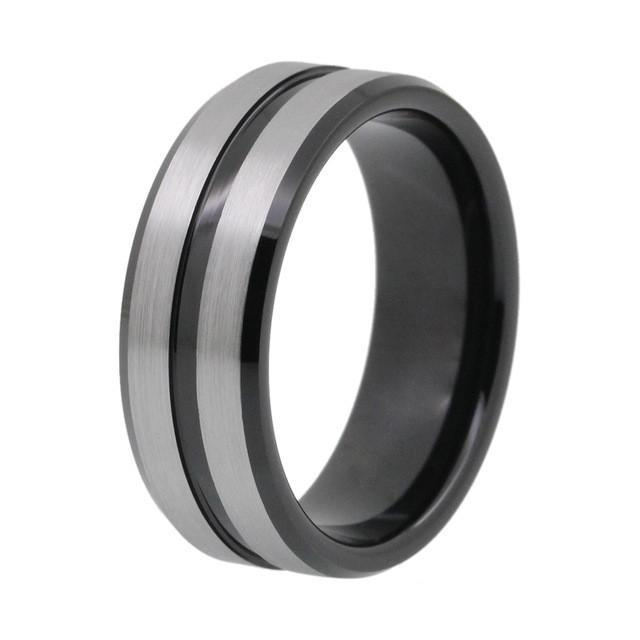 Grooved Black Tungsten Carbide Mens Wedding Band shopjulcom JUL