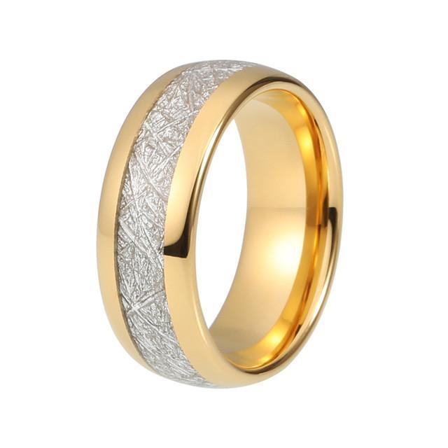 Tungsten Wedding Bands - Meteorite Tungsten Wedding Band In Gold Finish