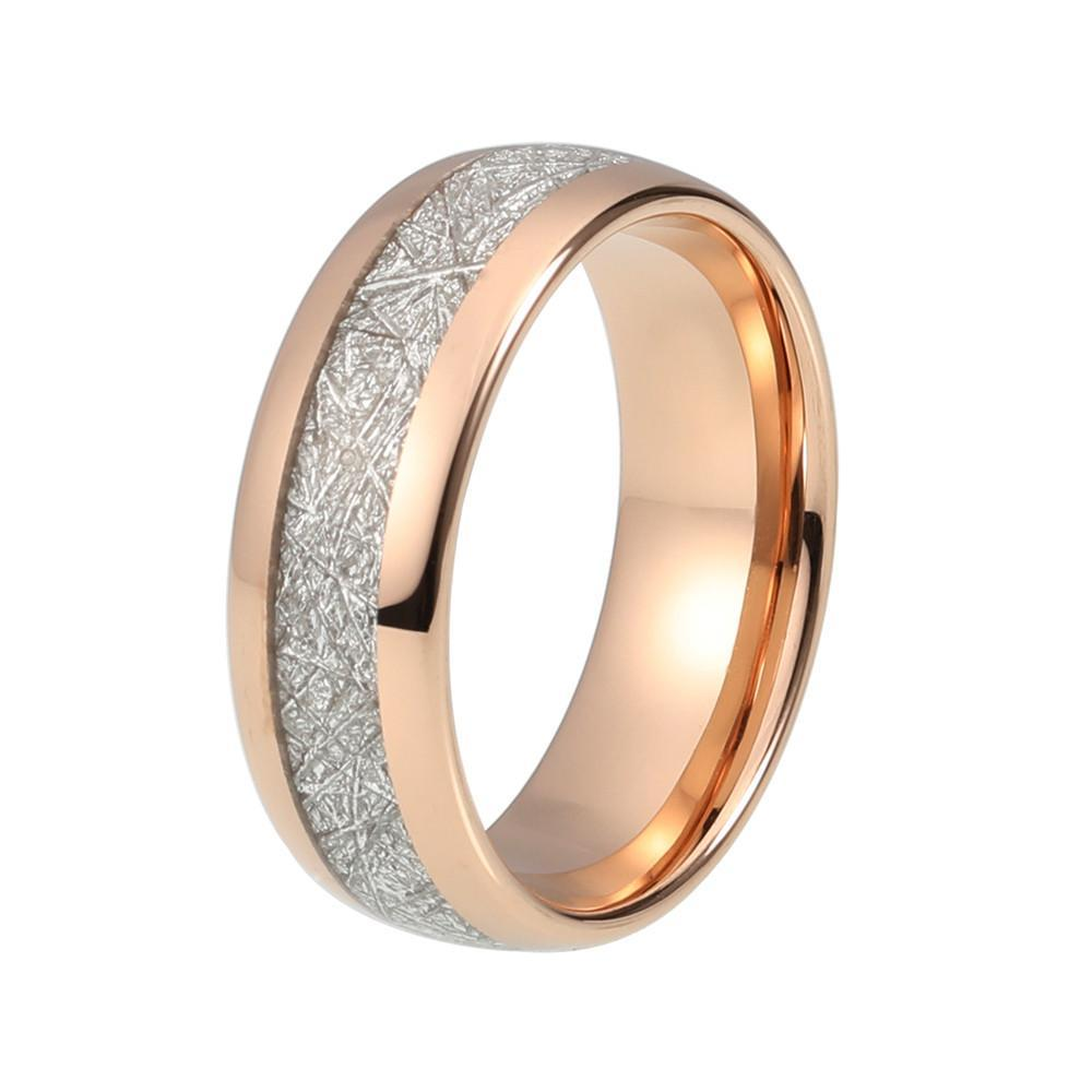 Tungsten Wedding Bands - Meteorite Tungsten Wedding Band In Rose Gold Finish