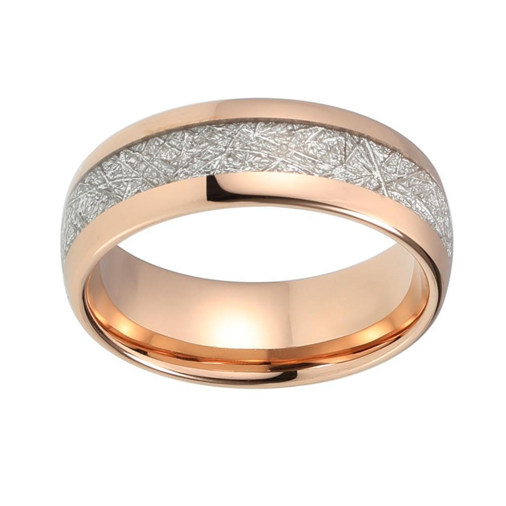 Tungsten Wedding Ring - Rose Gold & Meteorite - 8mm - Landscape