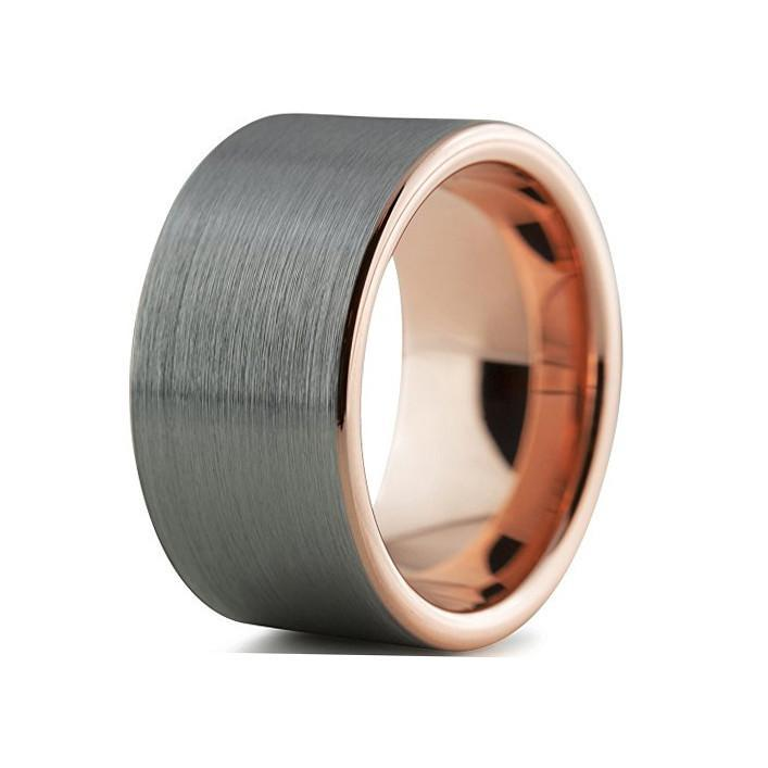 Tungsten Wedding Bands - Pipe Cut Brushed Gunmetal & Rose Gold Tungsten Wedding Band