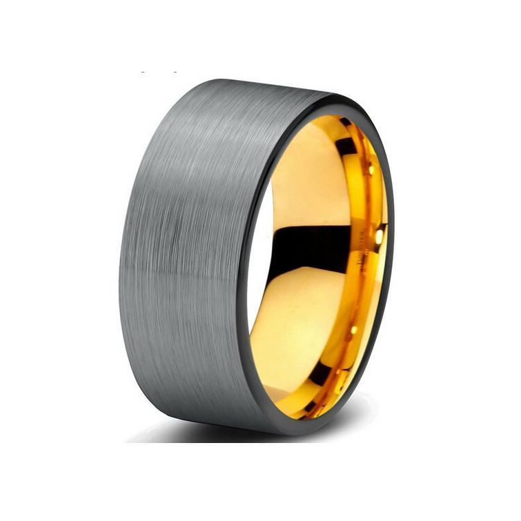 Tungsten Wedding Bands - Pipe Cut Brushed Gunmetal With Black Edges Tungsten Wedding Band