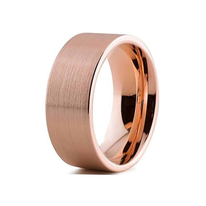 Tungsten Wedding Bands - Pipe Cut Brushed Rose Gold Tungsten Wedding Band