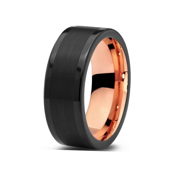 Tungsten Wedding Bands - Pipe Cut With Brushed Center Black & Rose Gold Tungsten Wedding Band