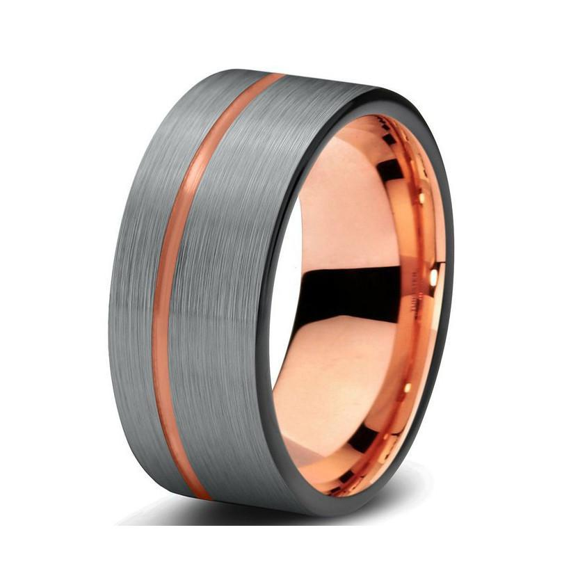 Tungsten Wedding Bands - Pipe Cut With Center Slit Gunmetal & Rose Gold Tungsten Wedding Band