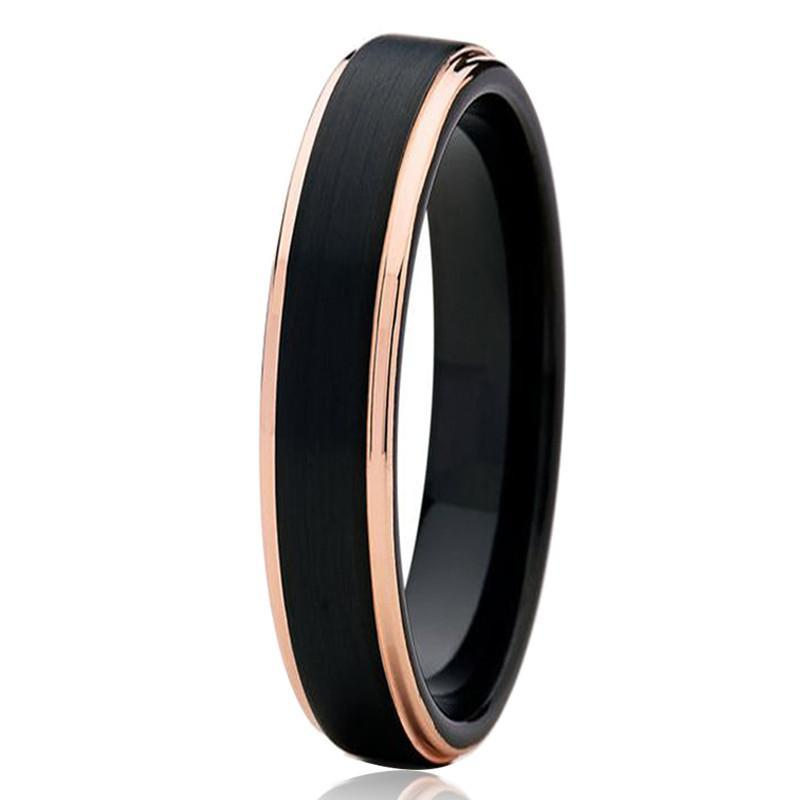 Tungsten Wedding Bands - Slim Black With Beveled Rose Gold Edges Tungsten Wedding Band