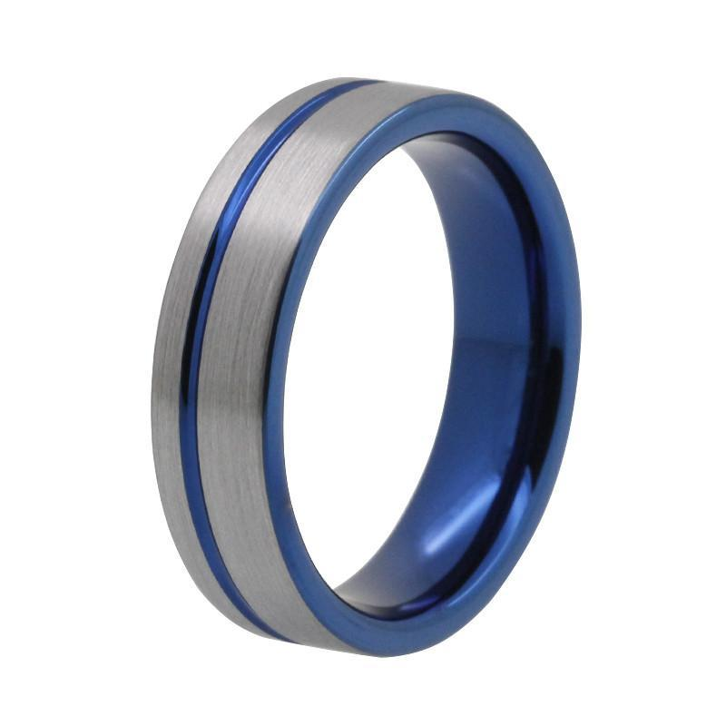 Tungsten Wedding Bands - Slim Blue Tungsten Wedding Band With Gunmetal Finish