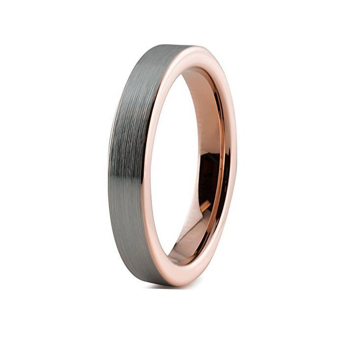 Tungsten Wedding Bands - Slim Pipe Cut Brushed Gunmetal & Rose Gold Tungsten Wedding Band