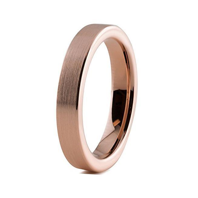 Tungsten Wedding Bands - Slim Pipe Cut Brushed Rose Gold Tungsten Wedding Band