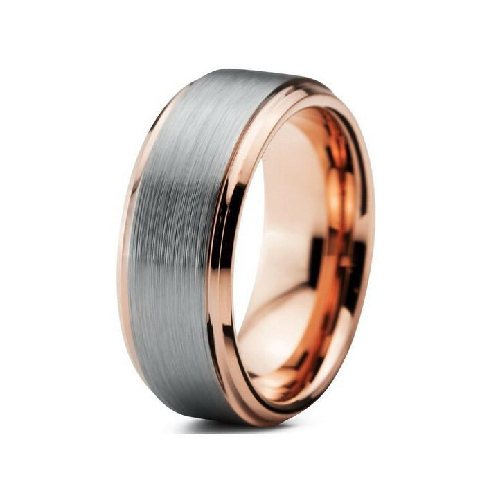 Tungsten Wedding Bands - Step Edge Brushed Gunmetal & Rose Gold Tungsten Wedding Band