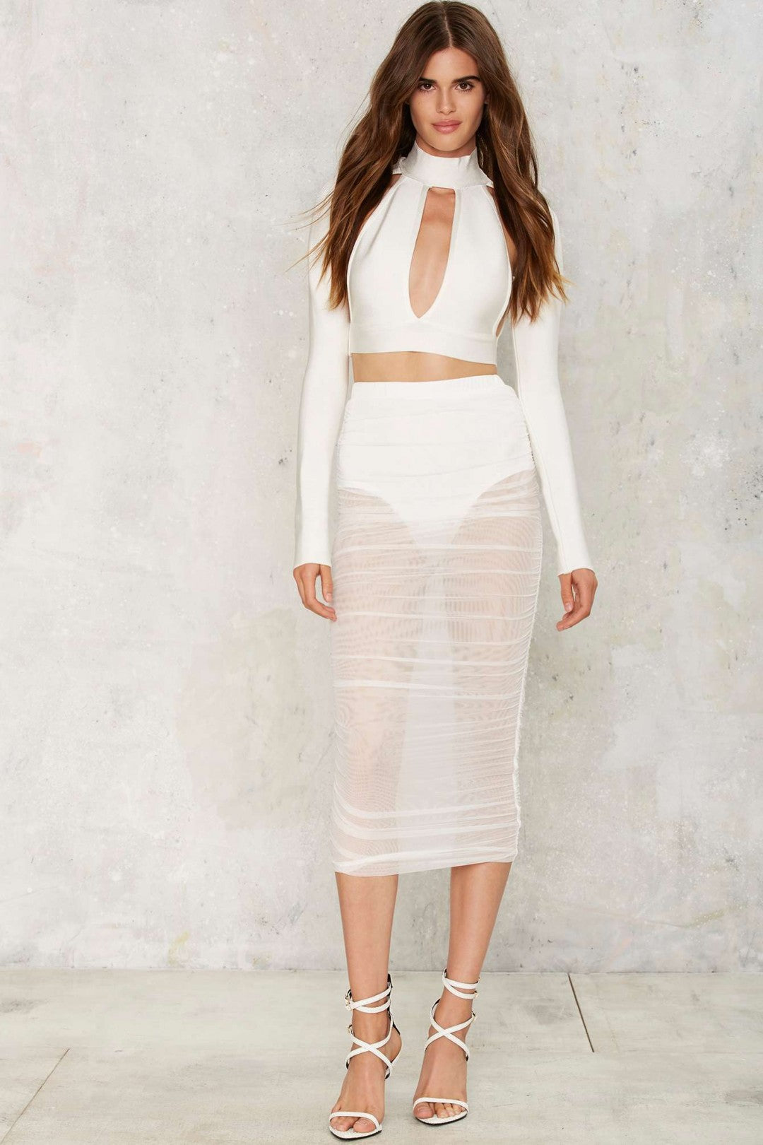 Sheer Mesh Skirt (white) zoomed