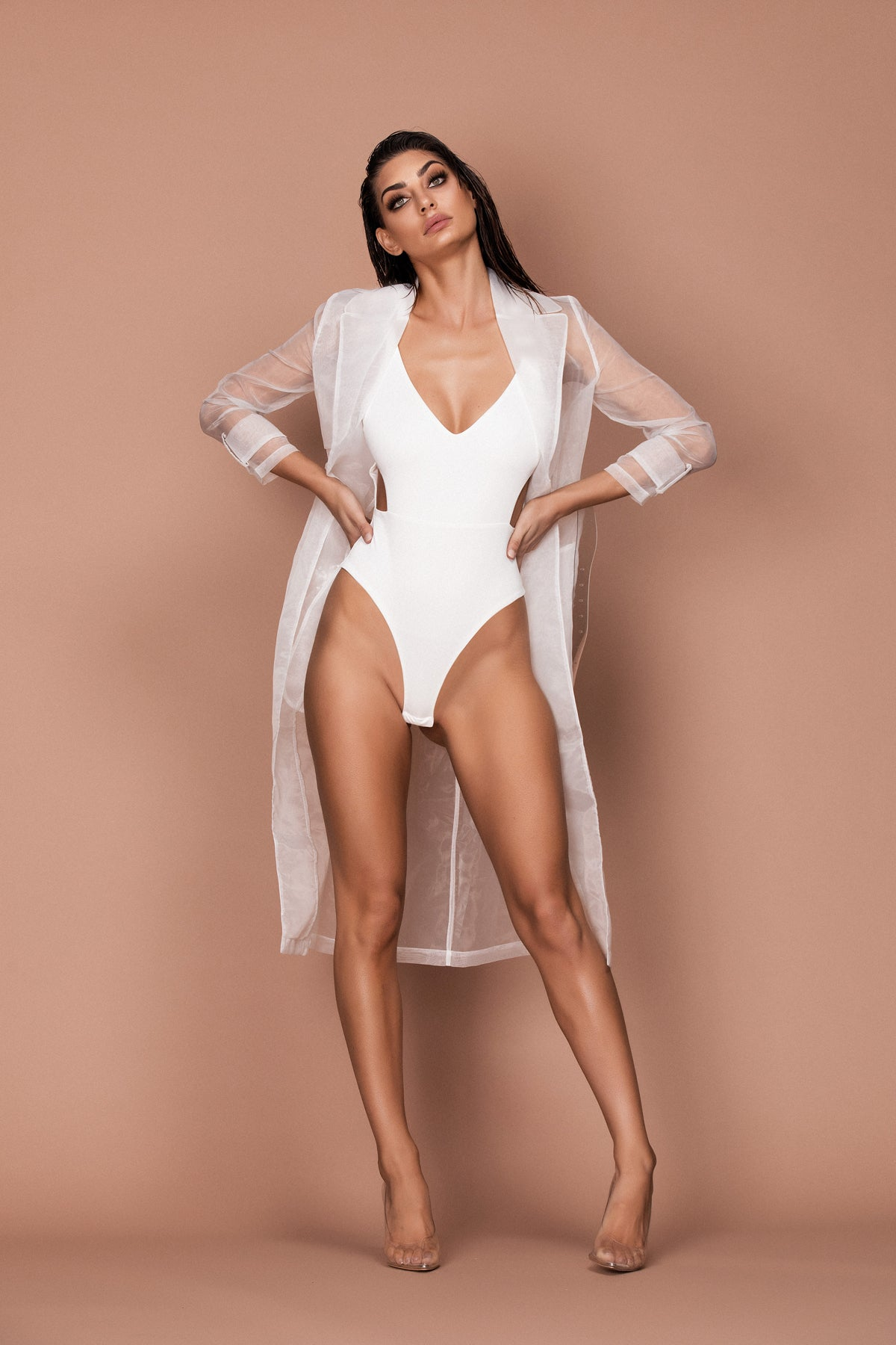 Interlude Sheer Trench (white) zoomed
