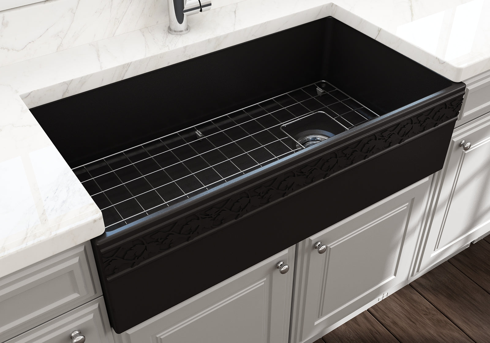 "Bocchi 36"" Fireclay Farmhouse Sink Apron Kitchen Sink Single Bowl , Matte Black , 1355-004-0120"