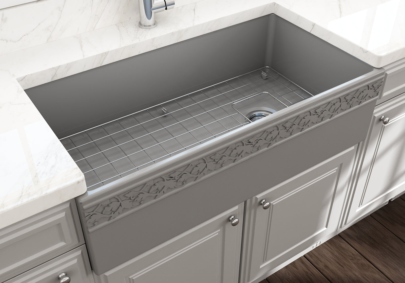 "Bocchi 36"" Fireclay Farmhouse Sink Apron Kitchen Sink Single Bowl , Matte Gray , 1355-006-0120"