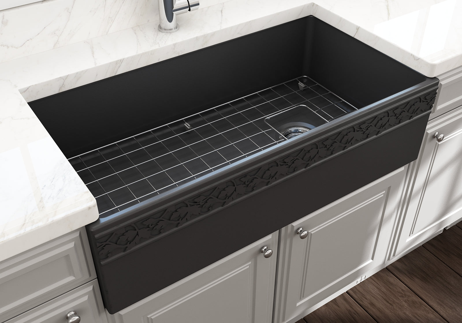 "Bocchi 36"" Fireclay Farmhouse Sink Apron Kitchen Sink Single Bowl , Matte Dark Gray , 1355-020-0120"