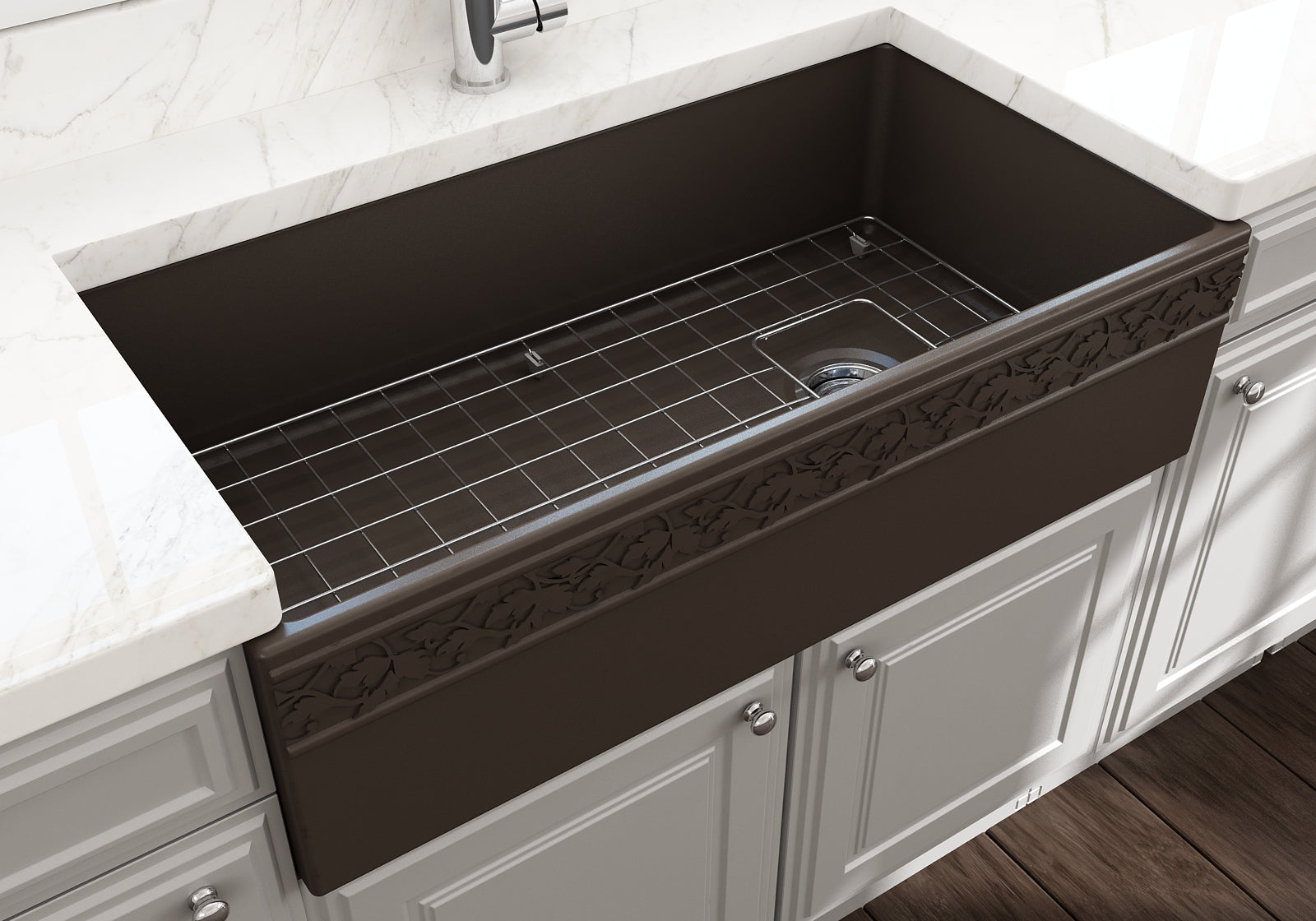 "Bocchi 36"" Fireclay Farmhouse Sink Apron Kitchen Sink Single Bowl , Matte Brown , 1355-025-0120"