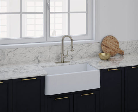 "Latoscana 33"" LA3319W Farmhouse/Apron-Front Granite 33 in. Single Bowl Kitchen Sink in White"