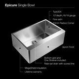 "ENS-3020 Epicure 30"" L x 20"" W Series Single Bowl Apron Front Kitchen Sink"