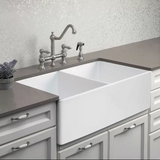 "HOUZER PTD-4400 WH Platus Fireclay 33"" x 20"" Double Basin Apron Kitchen Sink"