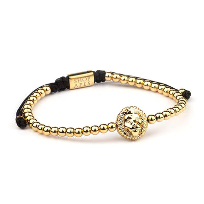24K 4MM Lion Head Charm Bracelet