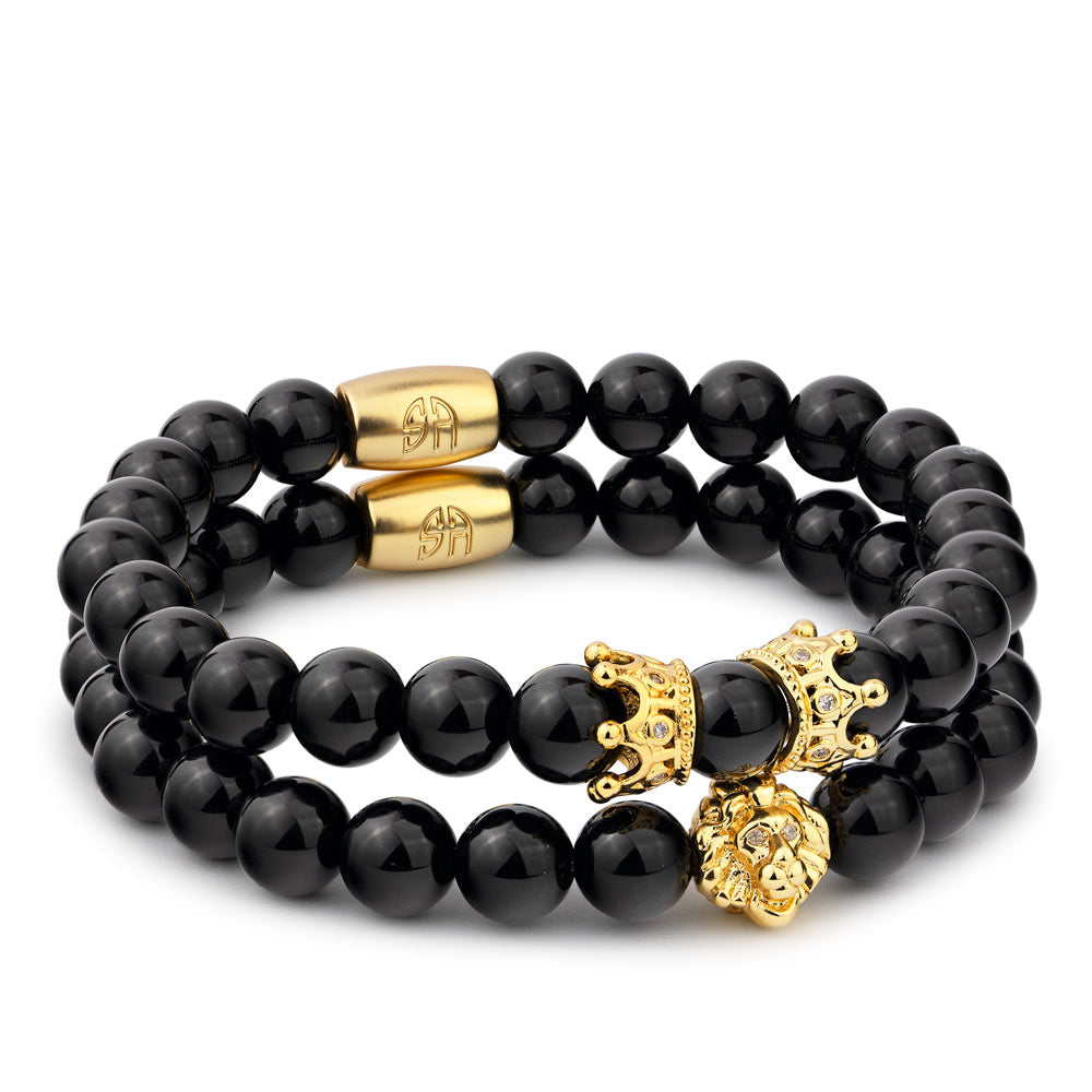 Golden Lion Twin Crown Bracelet SET