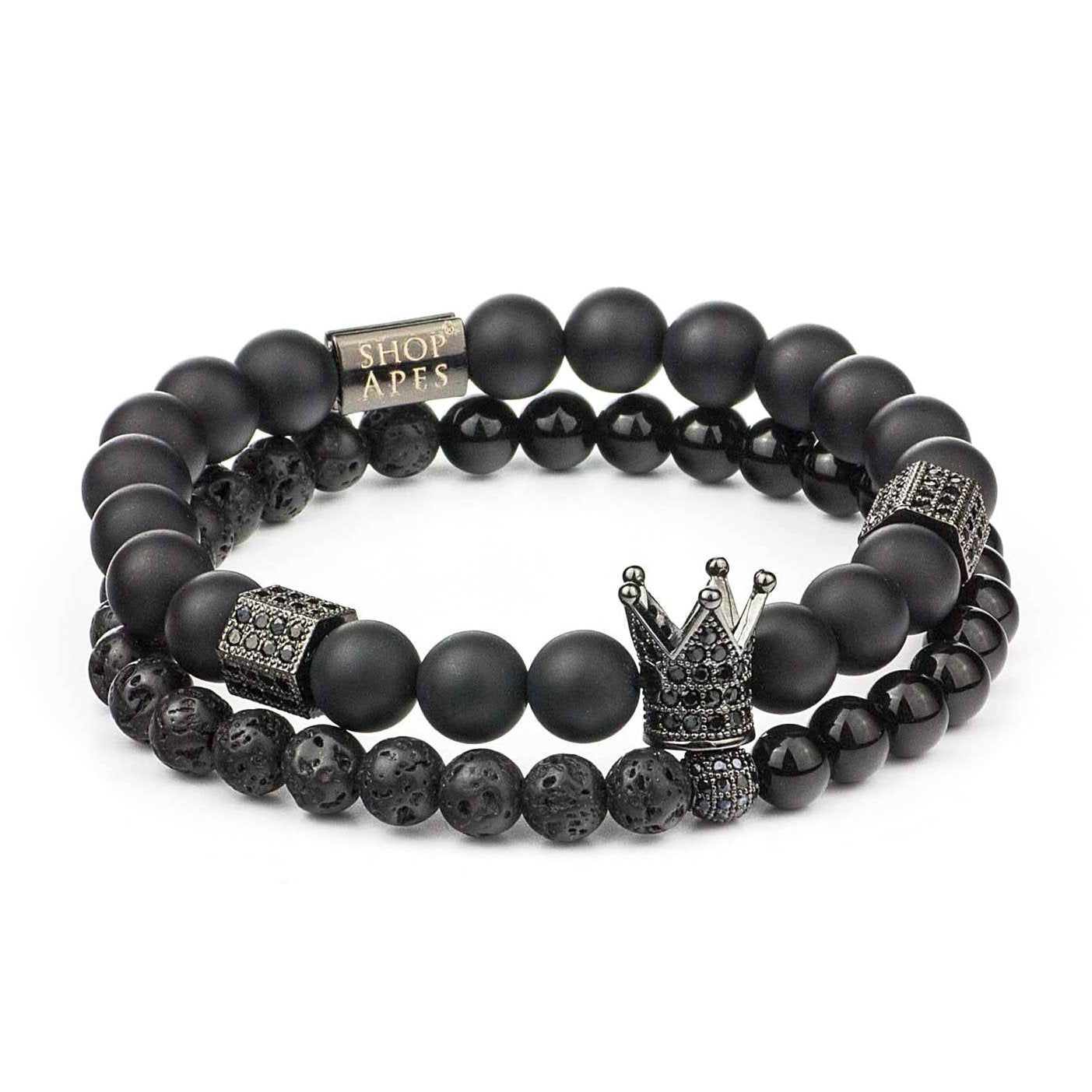 Black CZ Diamond Crown Lava SET