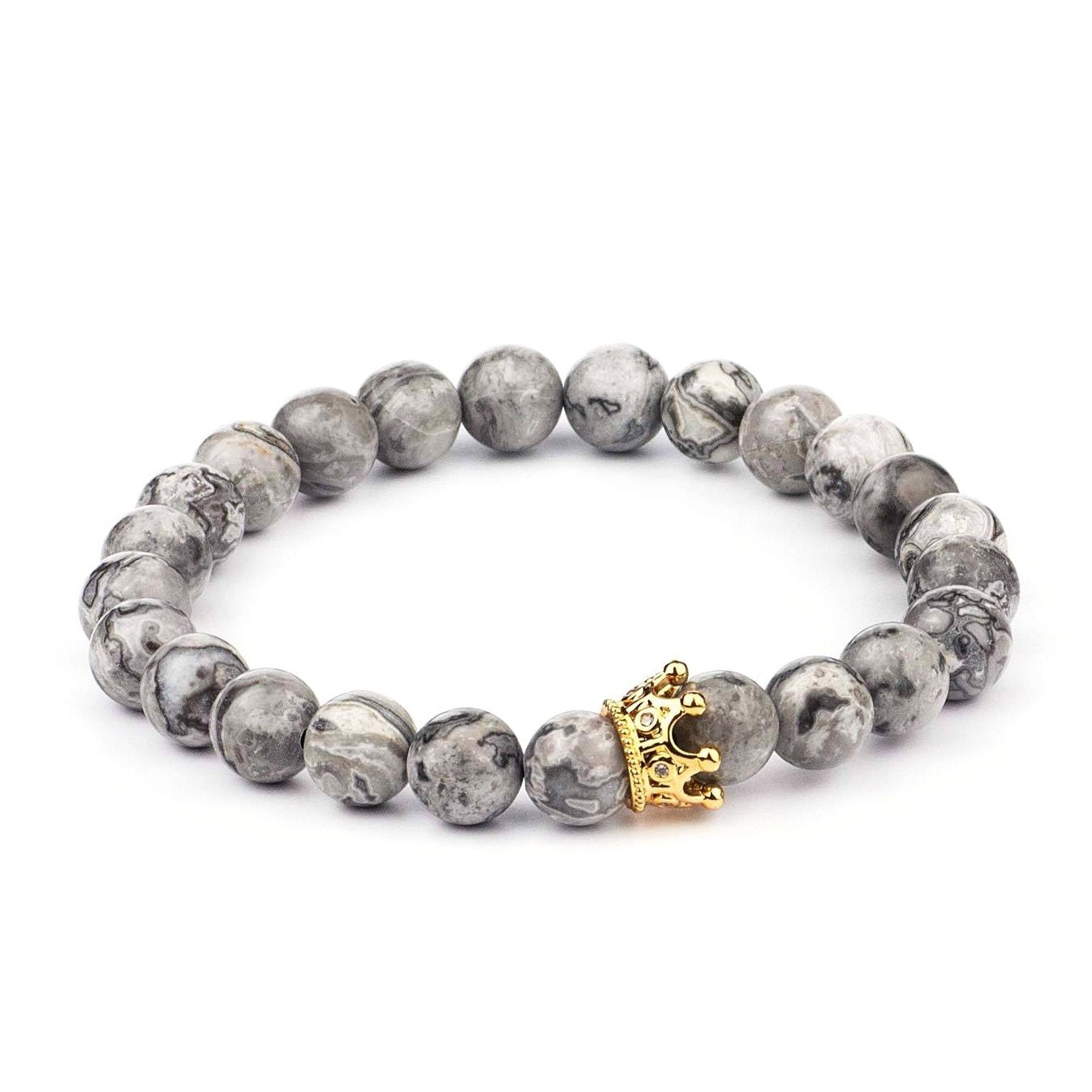 Gray Jasper Stone Crown Bracelets