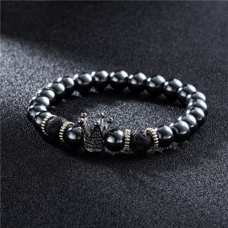 Hematite x Lava Black Crown Bracelet