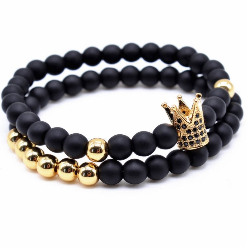 Twin Ball Crown Bracelet SET - ShopApes
