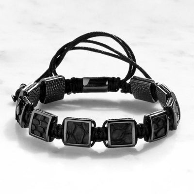 Black Python Leather Bracelet - ShopApes