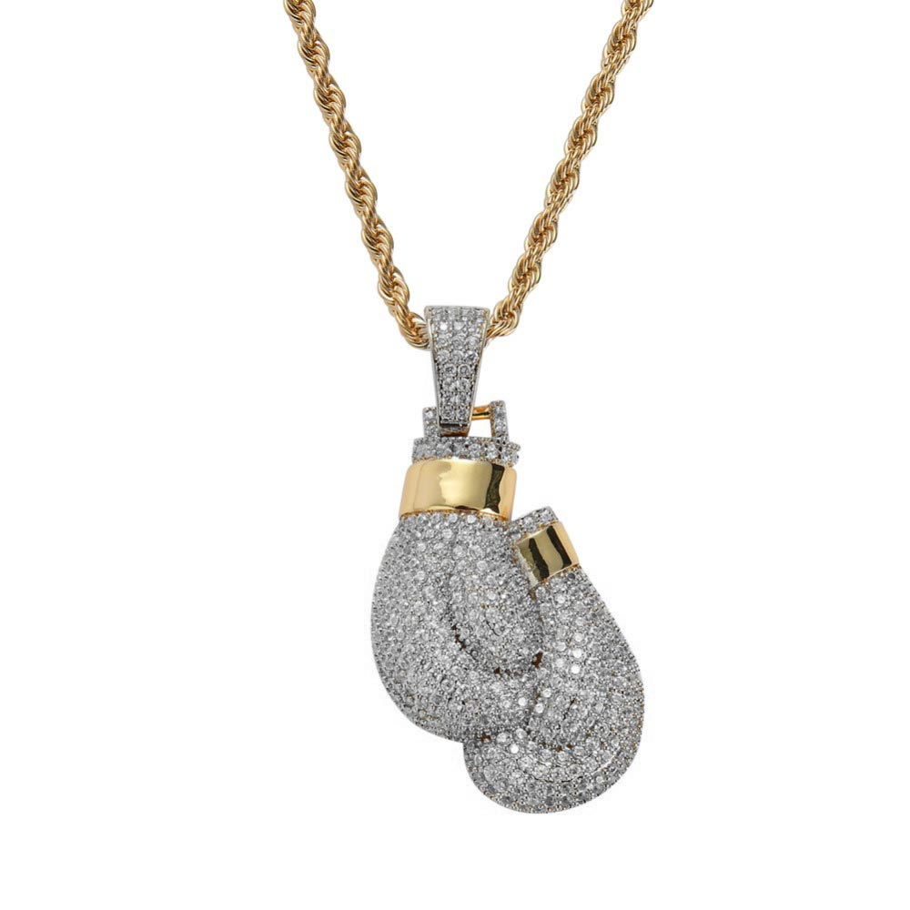 Silver Gold Ice Boxing Gloves Necklace