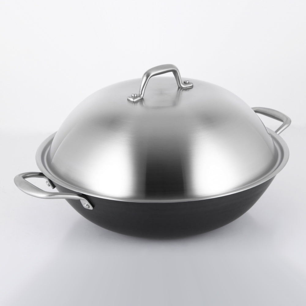 Load image into Gallery viewer, GOTHA Cast lron Wok 32 cm with SS Lid