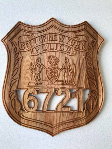 Custom Police Wood Carved Shields and Badges - USAF Veteran Made in the USA