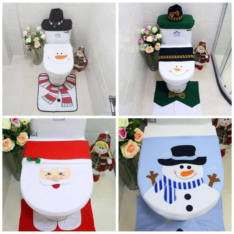 1pc Christmas Toilet Seat Cover Snowman